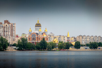 The modern Cathedral of Intercession of the Mother of God, in the Obolon district of Kiev, Ukraine
