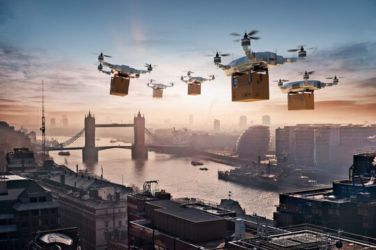 Futuristic drones delivering packages in London, UK