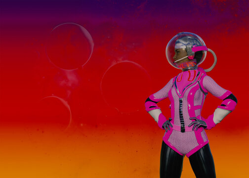 Retro 3D Space Girl/Astronaut posing with hands on hips against strange alien sky