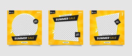 Yellow summer sale social media post template