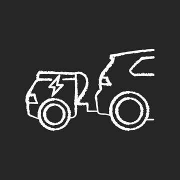 Range extender chalk white icon on black background. Electric vehicle additional energy supply, reserve generator. Electric car with auxiliary power unit isolated vector chalkboard illustration