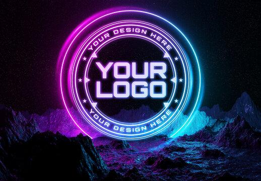 Neon Light Logo Mockup