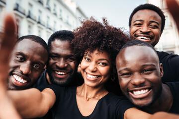 Group of black race friends taking a selfie