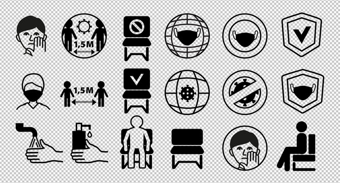 Line black icons on transparent background. Keep distance 1.5 meters. Put on mask. Keep distance between people. Do not sit here. Sit here.