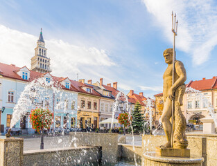 Tuinposter Historisch geb. The Neptune statue in the Main Square in Bielsko Biala, Silesian Voivodeship, Poland