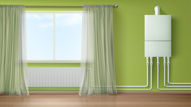 Boiler water heater on wall connected with radiator in room with plastic tubes and curtained window. Home appliance for comfort modern central heating system equipment Realistic 3d vector illustration