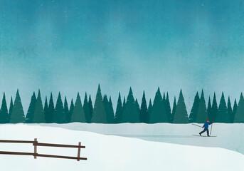 Illustration of man skiing against blue sky