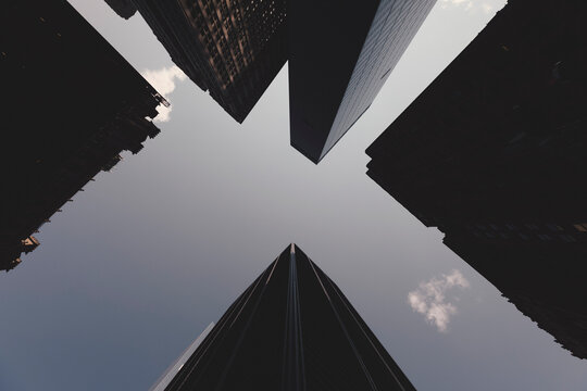 Directly below view of skyscrapers against sky, New York City, New York, USA