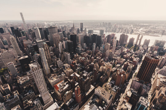 High angle view of buildings in Manhattan seen from Empire State Building, New York City, USA