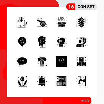 Set of 16 Modern UI Icons Symbols Signs for location, layers, box, development, coding