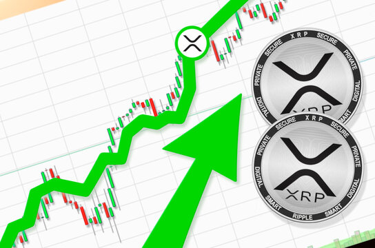 XRP going up; XRP cryptocurrency price up; flying rate up success growth price chart (place for text, price)