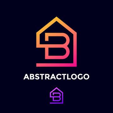 B letter logo simple Icon unique monogram for real estate company