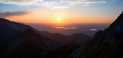 traumhaft schöne Abendstimmung am herzogstand, Blick ins Alpenvorland Oberbayern