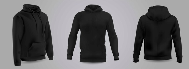 Black men's hooded sweatshirt mockup in front, back and side view, isolated on a gray background. 3D realistic vector illustration, pattern formal or casual sweatshirt.