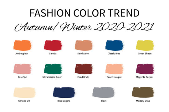 Fashion Color Trend Autumn Winter 2020 - 2021. Trendy colors palette guide. Brush strokes of paint color with names swatches. Easy to edit vector template for your creative designs