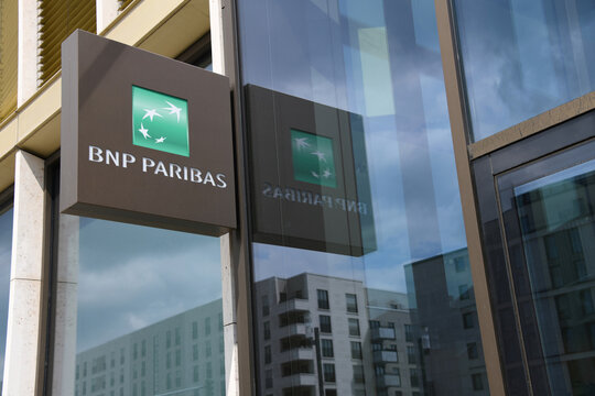 Frankfurt, Hesse / Germany - May 16, 2018: Company logo on the facade of BNP Paribas branch in Frankfurt, Germany - BNP Paribas is a French international banking group