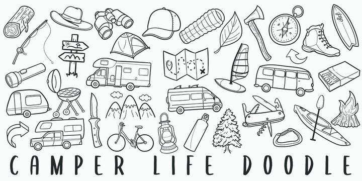Camper Lifestyle Doodle Line Art Illustration. Hand Drawn Vector Clip Art. Banner Set Logos.