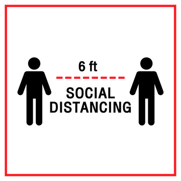 Social Distancing Keep Your Distance 6 Feet Vector