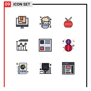 Mobile Interface Filledline Flat Color Set of 9 Pictograms of checkbox, growth, drum, graph, analytics