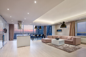 Luxury apartment interior during sunset