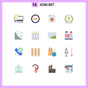 Group of 16 Modern Flat Colors Set for water, victory, file, reward, cup
