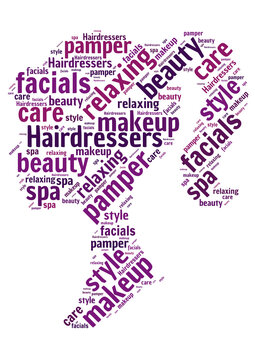 Word cloud representing the beauty industry