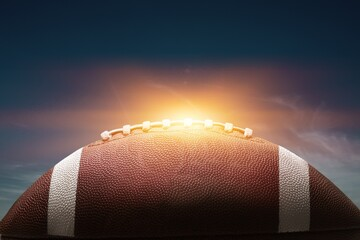 American leather football ball on sky background