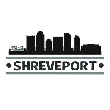 Shreveport Louisiana City Travel. City Skyline. Silhouette City. Design Vector. Famous Monuments.