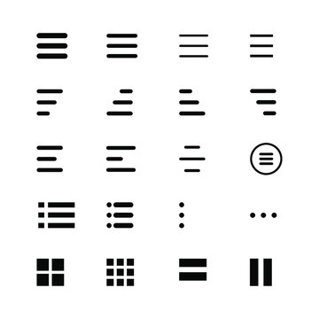 Minimal Set of Hamburger Menu Flat Icons. Menu Icons Vector Set of UI Design Elements. Interface Design Vector Icon Set of hamburger Menu. Website Navigation Icons for Mobile App and User Interface.