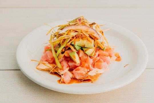 thai spicy tuna tostada sea food