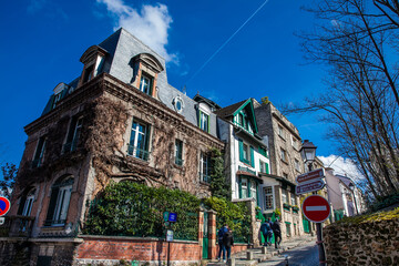 Corner on the steep streets of the famous Montmartre neighborhood in Paris