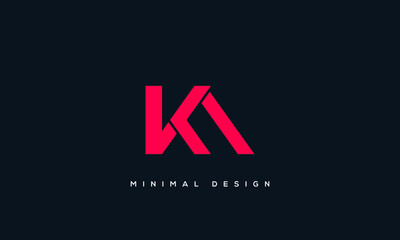 Obraz alphabet letters monogram icon logo AK or KA - fototapety do salonu