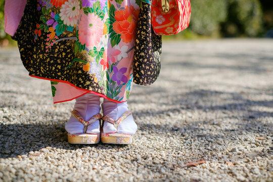 日本の七五三の着物と草履 七歳 女の子
