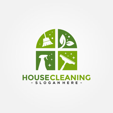 House Cleaning Service logo vector combination. Creative cleaning logo template design.