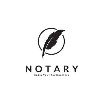 logo Creative Feather Vector For Notaries