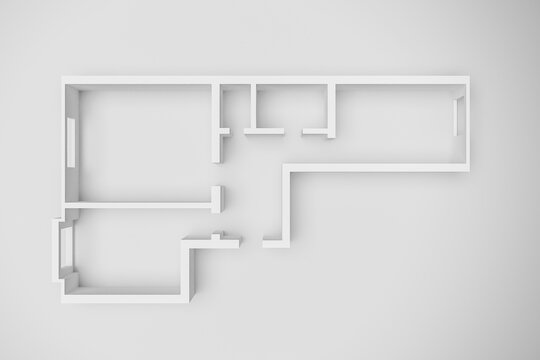 3d interior rendering of an empty paper model of an apartment house with two bedrooms, a large living room and kitchen, bathroom and toilet on a white background