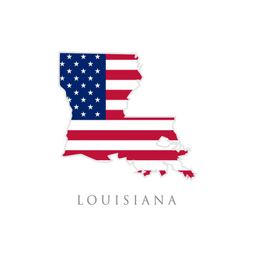 Shape of Louisiana state map with American flag. vector illustration. can use for united states of America indepenence day, nationalism, and patriotism illustration. USA flag design
