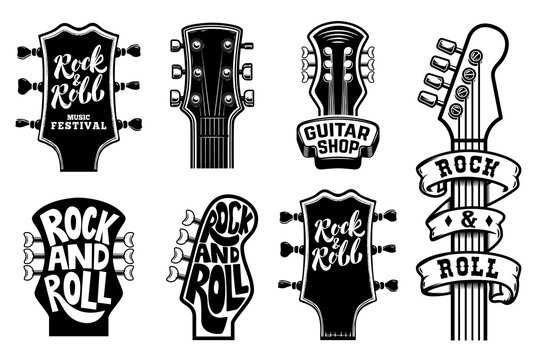 Set of rock and roll guitars necks heads with lettering. Design element for logo, emblem, card,banner, t-shirt. Vector illustration