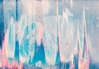 Glitch abstract background. Defect texture. Pastel pink blue white noise on distressed screen.