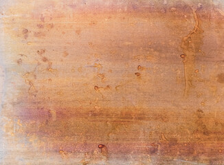 Weathered steel background. Rusted metal texture. Orange brown stained grunge surface.