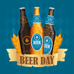 Beer day celebration event with bottles