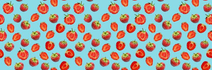 Fototapete - Seamless food pattern, ripe strawberries on a blue background.