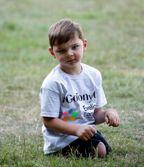Five-year-old amputee Tony Hudgell poses for a photo after raising more than 1 million pounds for the hospital that saved his life, in Kings Hill