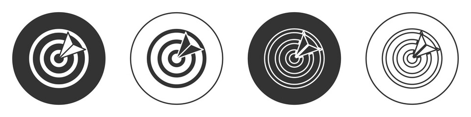 Black Target sport icon isolated on white background. Clean target with numbers for shooting range or shooting. Circle button. Vector Illustration.