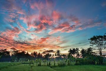 Beautiful cloudy burning sky in countryside before sunrise