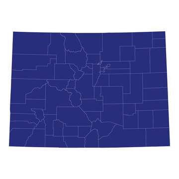 High Quality map of Colorado is a state of United States of America with borders of the counties