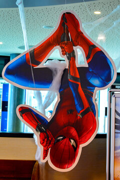 NERUMBERG, GERMANY - AUG 5, 2017: Spider Man poster at the cinema in Nerumberg, one of the most famous Marvel characters