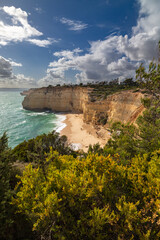 Coastal landscape the southern coast of the Algarve, Portugal.