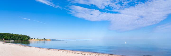 Beautiful bathing bay on the German Baltic Sea coast at Hohwacht, Germany, panorama