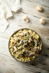 Homemade pasta with mushroom ragout